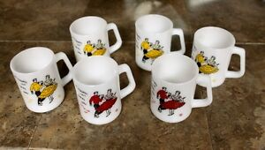 Federal Milk Glass mugs Square Dancing 4 yellow 2 red vintage Kingston Kingston Area image 2