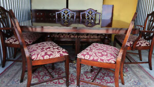 ** Exquisite Antique 8pc Dining Set, solid mahogany, refinished*