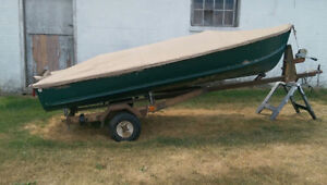 14 1/2 foot aluminum boat for sale with 9.8 Mercury