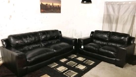 √√√ Real leather Black 3+2 seater sofas