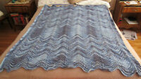 "Hand Crochet Afghan Blanket - Shades of Blue - 60"" x 43"""
