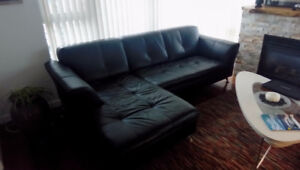 BLACK LEATHER SECTIONAL, CLUB CHAIRS, COFFEE AND END TABLE