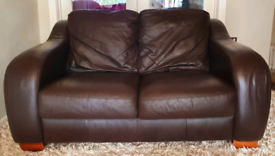 DELIVERY INCLUDED VGC 2 seater dark brown soft genuine leather sofa