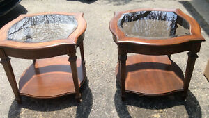Pair of wood and glass end tables