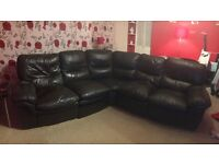 Brown leather 5 seater recliner corner sofa
