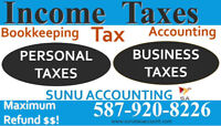 Income tax  from $30 all T4s and Accounting Services