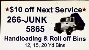 Garbage removed or bins, we load or you can!!!