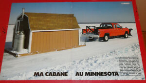 ICE FISHING SHACK PULLED BY 1979 1980 DODGE PICKUP MINESOTA