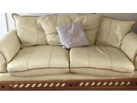 3 seater leather sofa in cream