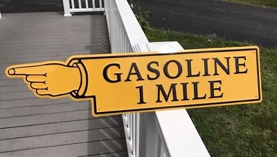 Embossed Gasoline 1 Mile Finger point Sign Gas Oil Automobile Direction Man Cave