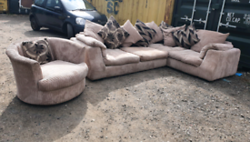Beige cord corner sofa + swivel chair