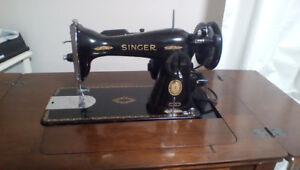 Antique Singer Sewing Machine, Sewing Table and Bench