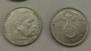 German silver coin 2 mark from 1937 - 1939 $15 for one coin