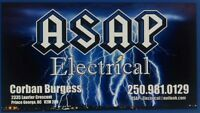 ASAP Electrical NEWLY FOUNDED LOCAL COMAPNY !!