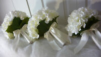 3 Pretty White Hydrangea Bridesmaids Wedding Bouquet Of Flowers.