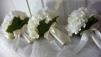 3 Pretty White Hydrangea Bridesmaids Wedding Bouquet Of Flowers.