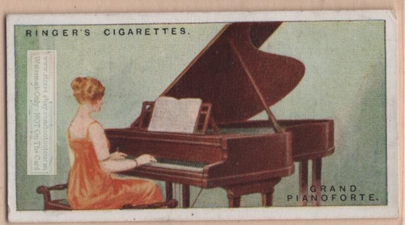 Grand Fortepiano Stringed Musical Instrument 1920sTrade Ad Card