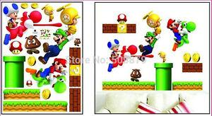 super mario wall sticker decal children/kids bedroom