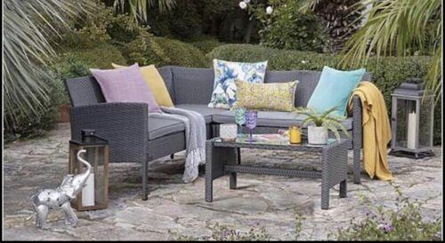 Garden Furniture - Outdoor Grey Rattan Garden Furniture 5 Seat Corner Sofa & Table Dining Patio Set