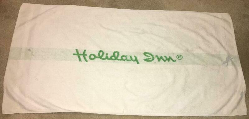 Vintage HOLIDAY INN Bath Towel Green and White Hotel Advertising Promo Prop