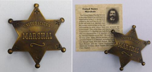 U.S. Marshal Badge, boxed, old west, western, Seth Bullock, US, antiqued brass