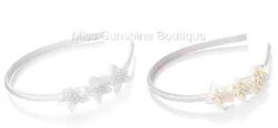 Satin Ribbon Flower Girl Pearl Hair Alice Band Headband Wedding White or Cream