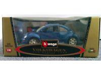 Blue Collectible Volkswagen Beetle Scale Model.