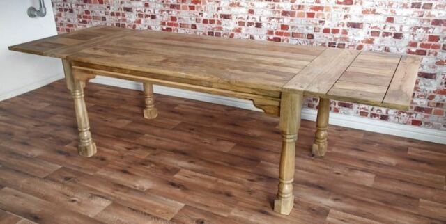 Extending Rustic Farmhouse Dining Kitchen Table Natural Reclaimed Tropical Hardwood 6 12 Persons