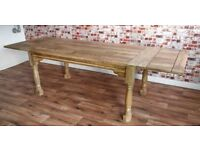 Extending Rustic Farmhouse Dining Kitchen Table Natural - Reclaimed Tropical Hardwood 6-12 persons
