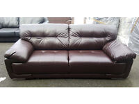 CODE 15 - Damaged 3 Seater Santana WAS £599 NOW £199 Brown Leather Sofa Clearance