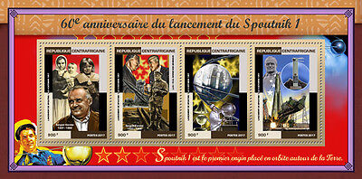 Central African Rep 2017 MNH Sputnik 1 Launch 60th Anniv 4v M/S Space Stamps