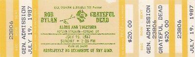 """GRATEFUL DEAD TICKET UNUSED  07-19-1987  AUTZEN STADIUM W/ DYLAN """"MAIL ORDER"""""""