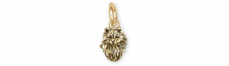 Keeshond Jewelry 14k Gold Handmade Keeshond Charm  KSH1H-CG