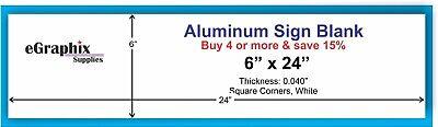 White Aluminum Sign Blank 6 X 24 X 0.040 Squared Corners Indooroutdoor