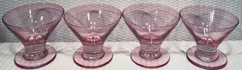 Lot Of 4 ~ Pink Fluted Glass Dessert Cups ~ MINT CONDITION