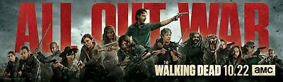 """The Walking Dead Season 8 All Out War Premiere Banner Poster 25×7"""" 50×14"""" 71×21"""""""