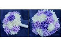 Beautiful, handmade satin wedding flowers and bridal bouquets. Available in a variety of styles