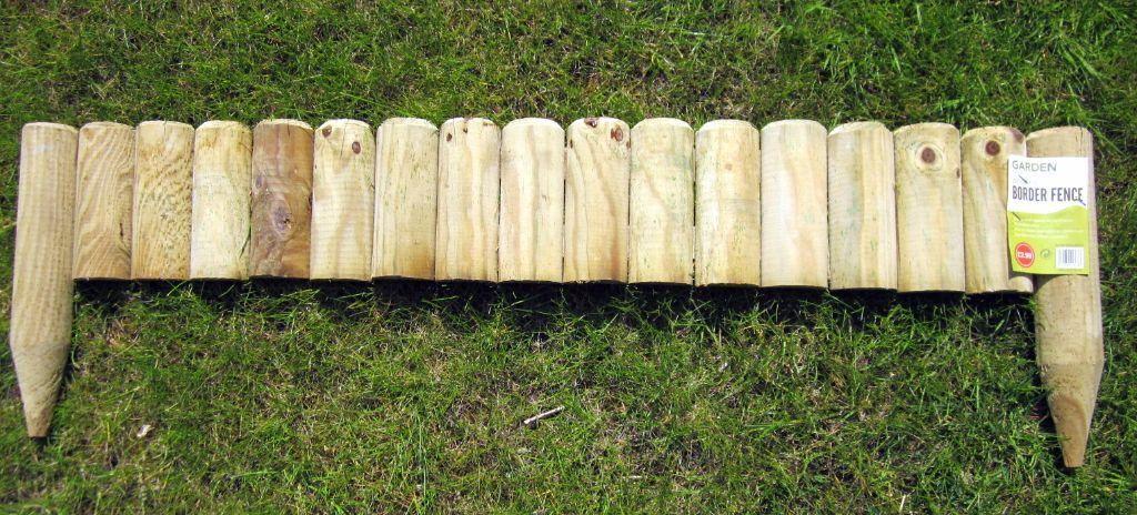 Garden border fence wooden lawn edging planters 1m length for Wooden garden edging