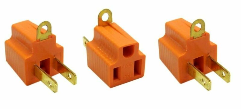 3 PACK Ground Plug Adapter 3 Prong to 2 AC Electrical Outlet Grounding Polarized