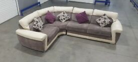 DFS - Real Leather and Fabric L-Shape Corner Sofa
