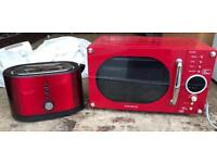 Red microwave and toaster set £50