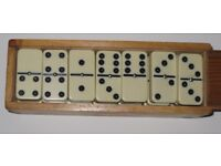 Vintage Double Six Dominoes in Dovetail Wooden Box