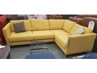 Mustard yellow fabric corner sofa
