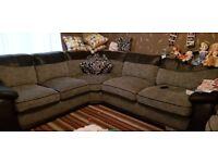 Black n grey left hand large corner sofa with swivel chair