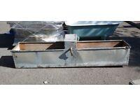 Reclaimed galvanised steel long trough garden planter feeder