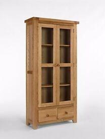 Devon oak Glass Display Unit - finished in a high quality lacquered medium oak