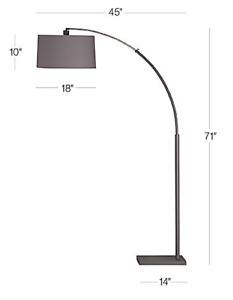 Dexter Arc Floor Lamp with Shade Crate and Barrel Exclusive -