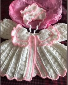 Baby girls cardigan and hat
