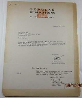 VINTAGE 1945 TWO SIGNED LETTERS FROM WILLY LEY  TO PUBLISHER ON LETTERHEAD