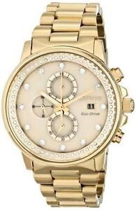 CITIZEN ECO-DRIVE LADIES NIGHTHAWK CHAMPAGNE CRYSTAL GOLD TONE FB3002-53P
